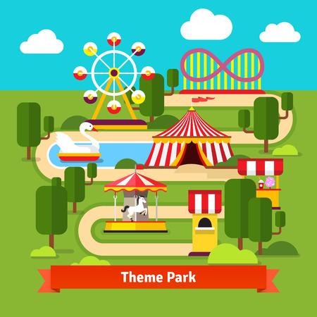 tren caricatura: Diversión mapa del parque, noria, montaña rusa, carnaval tienda, carrusel y taquilla. Ilustración de dibujos animados de vectores plana.
