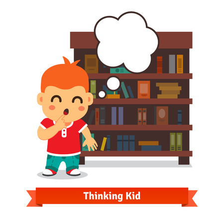 smart kid: Thinking kid holding finger near his open mouth with speech balloon in front of bookshelf full of books. Flat vector illustration isolated on white background.