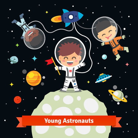 fly: Astronaut kids on an space international expedition. Landing on the alien earth or moon from a rocket ship. Flat vector illustration isolated on black background.