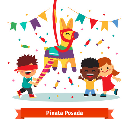 party people: Children celebrating Posada by breaking a traditional donkey shaped Pinata. Flat vector cartoon illustration isolated on white background. Illustration