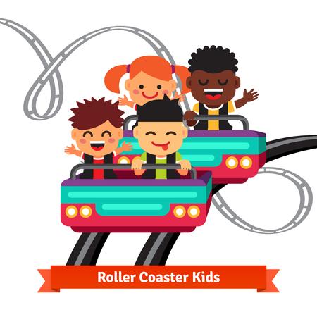 Groep opgewonden, glimlachend en schreeuwende kinderen paardrijden achtbaan. Vlakke stijl vector cartoon illustratie.