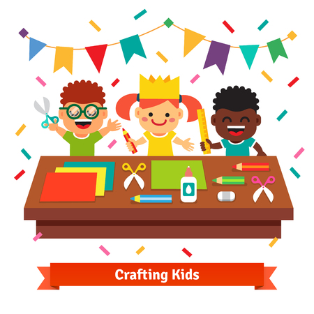 art and craft: Kids crafts in kindergarten. Creative children crafting decorations at the table from color paper with scissors, crayons and glue. Flat vector cartoon illustration isolated on white background.