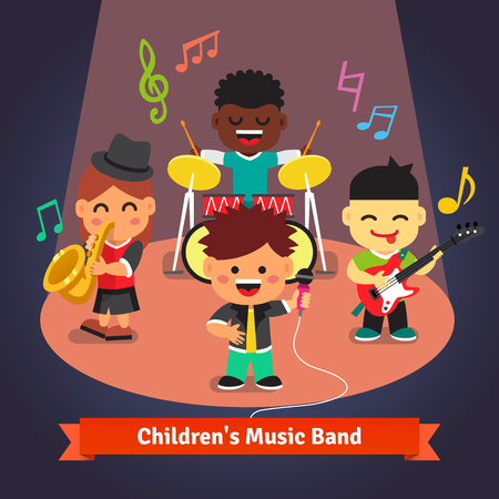 girl singing: Kids music band playing and singing in spotlight light on stage. Soloist, drummer, sax and guitarist characters. Flat vector cartoon illustration.