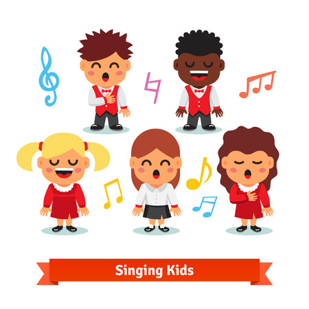 cartoon singing: Choir of kids singing. Boys and girls happy children quintet. Flat vector cartoon illustration isolated on white background.