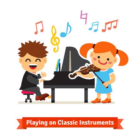 tocando el piano: Muchacho y muchacha niños jugando la música clásica en el piano y el violín juntos en una clase musical. Ilustración de dibujos animados de vectores plana aislada en el fondo blanco. Vectores
