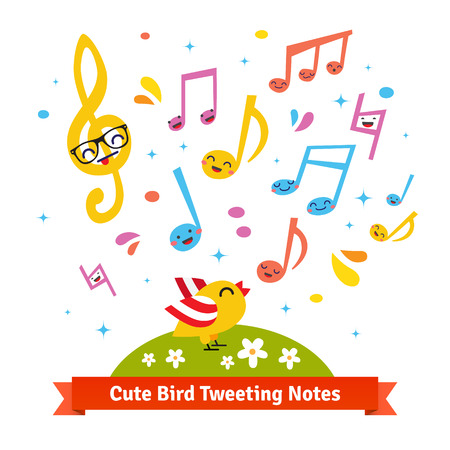musical notes background: Cute bird tweeting and singing happy cartoon musical notes standing on a green meadow. Flat vector illustration isolated on white background.