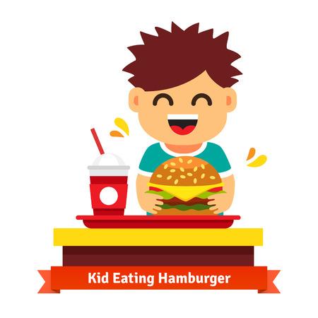 fastfood: Kid ăn hamburger và uống tại bàn ăn nhanh. Flat minh họa véc tơ bị cô lập trên nền trắng. Hình minh hoạ