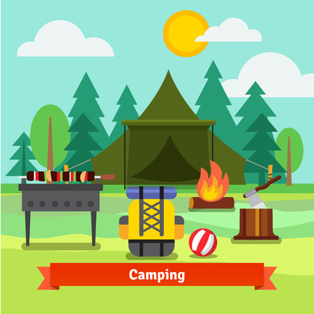 grill meat: Camping in the forest with tent, backpack, axe, barbecue grill with meat, and fireplace. Flat vector illustration.