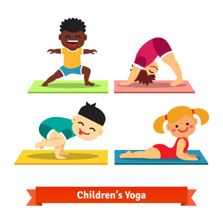 cartoon yoga: Kids doing yoga poses on colorful mats. Flat vector illustration isolated on white background.
