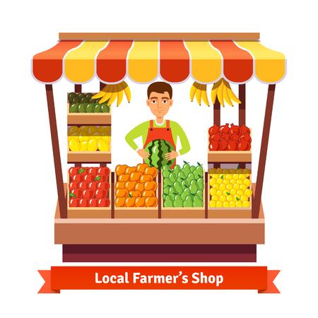 Agricoltore locale prodotti negoziante. Imprenditore di vendita al dettaglio frutta e verdura a lavorare nel suo negozio. Appartamento stile illustrazione.