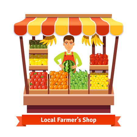 of fruit: Local farmer produce shop keeper. Fruit and vegetables retail business owner working in his own store. Flat style illustration.