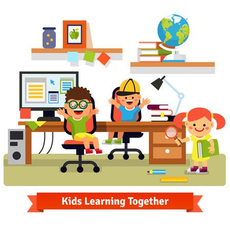computadora caricatura: Los niños investigan concepto base. Niños aprendiendo y haciendo proyectos juntos en su habitación con escritorio, computadora de escritorio, archivos y libros. Ilustración vectorial plano aislado en fondo blanco.