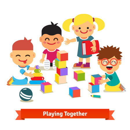 Kids playing with bricks and toys together in kindergarten room. Flat vector illustration isolated on white background. Иллюстрация
