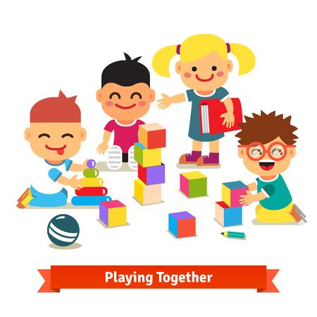 socializando: Niños jugando con ladrillos y juguetes juntos en la sala de jardín de infancia. ilustración vectorial plana aislada en el fondo blanco.