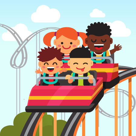roller: Group of excited, smiling and screaming kids riding roller coaster. Flat style vector cartoon illustration.