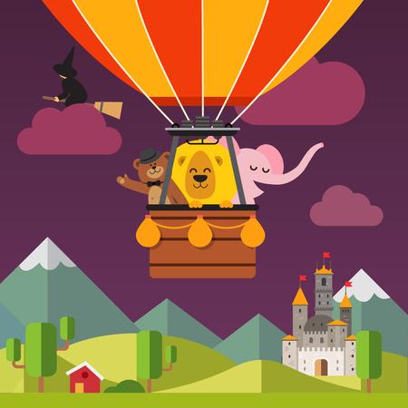 brujas caricatura: Animales de dibujos animados feliz volando en globo de aire caliente por encima escénico paisaje de la fantasía de la tarde. Tener en el sombrero, el león y el elefante. Vector de fondo de dibujos animados ilustración plana.
