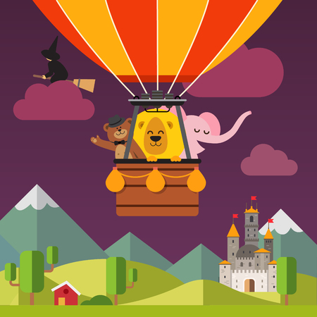 witch on broom: Happy cartoon animals flying on hot air balloon above scenic evening fantasy landscape. Bear in the hat, lion and elephant. Flat vector cartoon background illustration.
