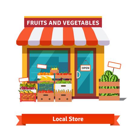 frutas: Frutas y verduras locales edificio de la tienda. Abarrotes baúles delante de escaparate. Ilustración plana vectorial aislados en fondo blanco.