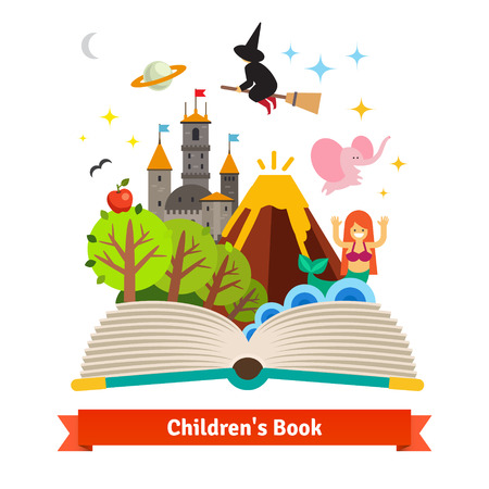 kids reading book: Imagination coming to life in a children fairy tail fantasy book. Flat style vector concept cartoon illustration.