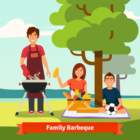 Family on vacation having outdoor bbq. Flat isolated vector illustration. Illustration