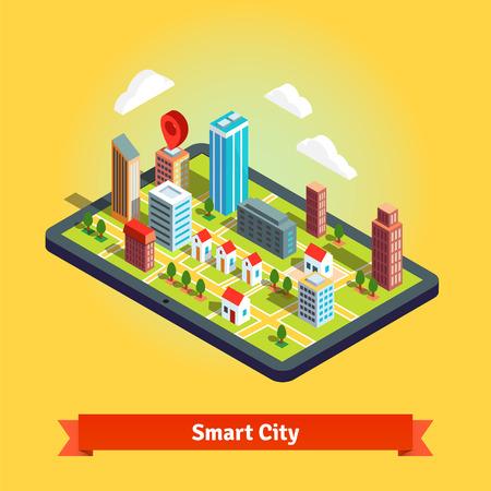 edificios: 3D mapa de navegación isométrica de un pequeño pueblo en la tableta y destino pin punto. Ruta GPS. Ilustración plana vectorial aislados en fondo blanco.
