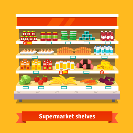 Shop, supermarket interior shelf with fruits, vegetables, milk, eggs drinks, preserves. Healthy food. Flat isolated vector illustration on white background. Ilustracja