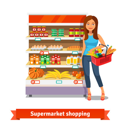 grocery shelves: Young smiling woman standing near supermarket shelves with food groceries. Flat isolated vector illustration on white background.