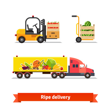 montacargas: Frutas y hortalizas frescas de entrega. Camión Maduro, carretilla elevadora, cajas. Ilustración plana vectorial aislados en fondo blanco.