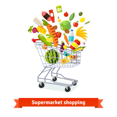 supermarket shopping: Full shopping grocery cart exploding with goods. Flat isolated vector illustration and icons on white background.