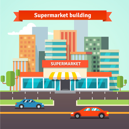 store window: Roadside supermarket or local store and cityscape background. Flat isolated vector illustration.