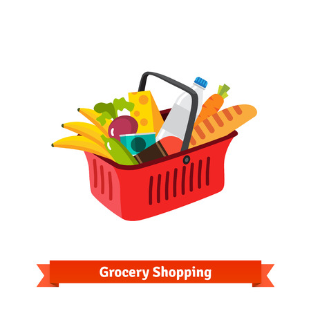 Red plastic shopping basket full of groceries. Supermarket or local store. Flat isolated vector illustration.