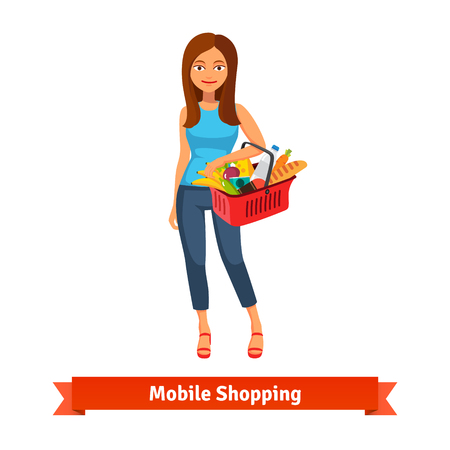 basket: Young woman standing with plastic shopping basket full of groceries. Flat vector icon.