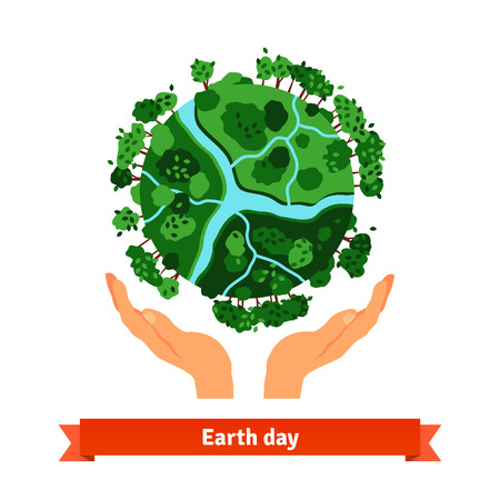 Earth day concept. Human hands holding globe. Save our planet. Flat style vector illustration isolated on white background.