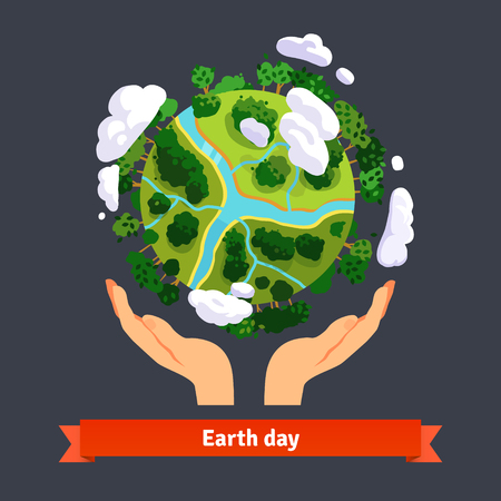 dia: Concepto de día de la Tierra. Manos humanas sosteniendo flotante globo en el espacio. Salva Nuestro Planeta. Aislado estilo plano ilustración vectorial. Vectores