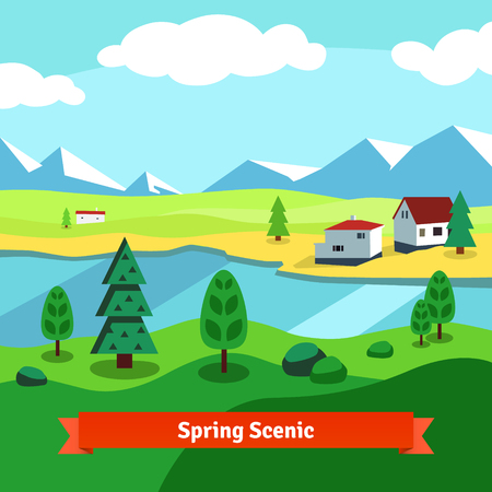 scenic: Spring rural farm riverside scenic with mountains in background. Flat style vector illustration. Illustration