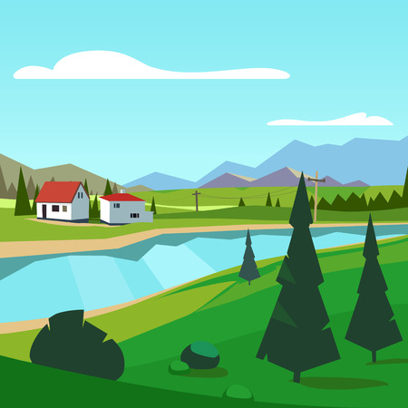riverside: Spring rural farm riverside scenic with mountains in background. Flat style vector illustration. Illustration