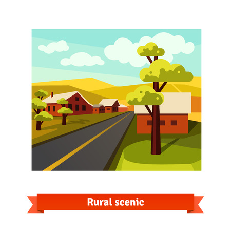 ilustracion: Rural road crossing the village countryside. Flat style vector illustration.