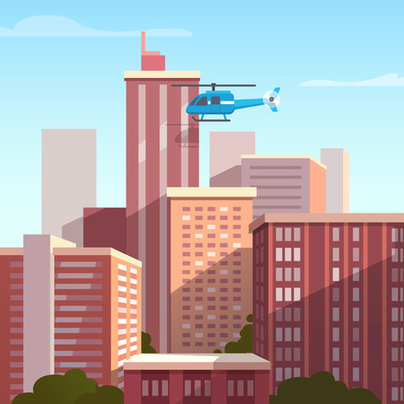 Sunset city landscape with flying helicopter. Flat style vector illustration.