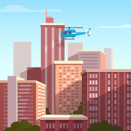 stile: Tramonto paesaggio della citt� con l'elicottero in volo. Appartamento stile illustrazione vettoriale.