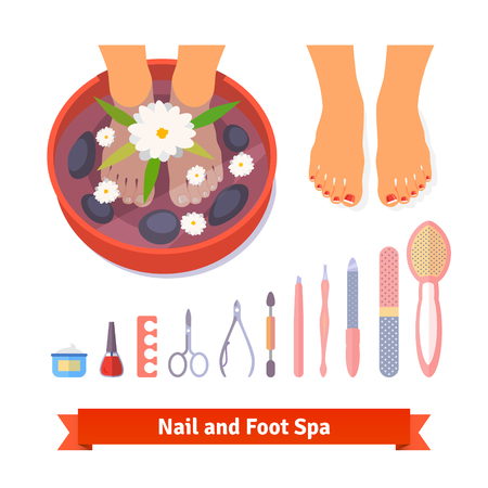 Manicure pedicure foot spa beauty care set. Flat style icons and illustration isolated on white.
