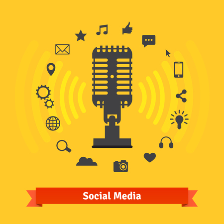 podcasts: Social media marketing and podcasts recording studio concept and icons. Vector set.