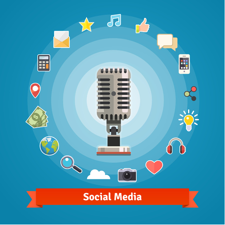podcasts: Social media marketing and podcasts recording studio concept and icons. Flat style vector set.