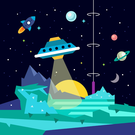Alien space planet landscape with ufo, ray of light energy, rocket, strs and planets. Flat style vector background illustration. 向量圖像