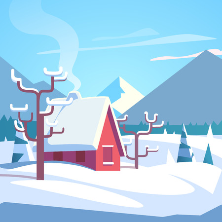 lodge: Winter mountains landscape scenic with small house with chimney smoke. Flat style vector illustration.