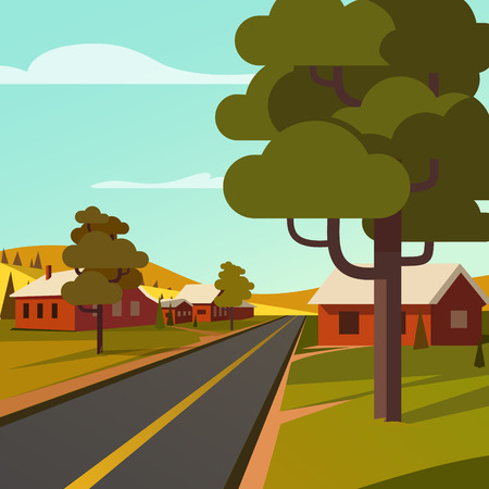 rural road: Rural road crossing the village countryside. Flat style vector illustration.