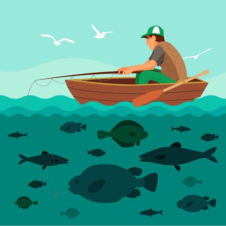 pesca: El hombre pesca en el barco. Un montón de peces en el mar y las gaviotas en el cielo. Ilustración vectorial Flat.