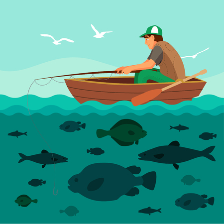 Man fishing on the boat. Lots of fish in the sea and seagulls in the sky. Flat vector illustration. Stock Illustratie