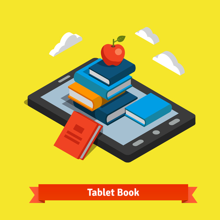 book background: Tablet e-reader book reading and modern cloud technology mobile education concept. Flat style vector isolated illustration. Illustration