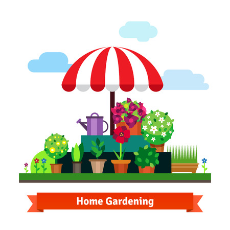 Home greening store with plants, flowers, green grass, bushes, small trees, watering pot and sun umbrella. Flat style vector isolated illustration. Stock Illustratie