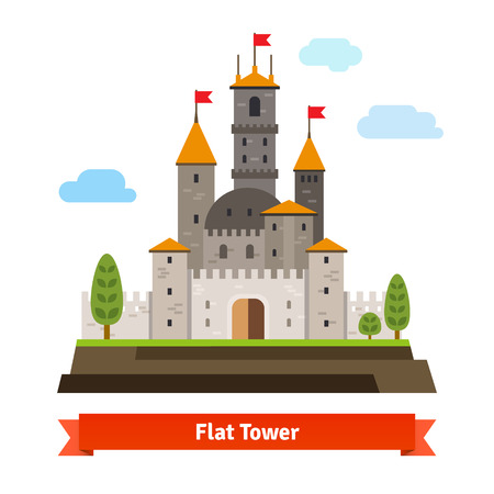 fort: Medieval fortress with towers. Flat style vector cartoon illustration isolated on white.